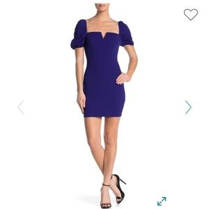 Bailey Blue Mini Dress with Puff Sleeves